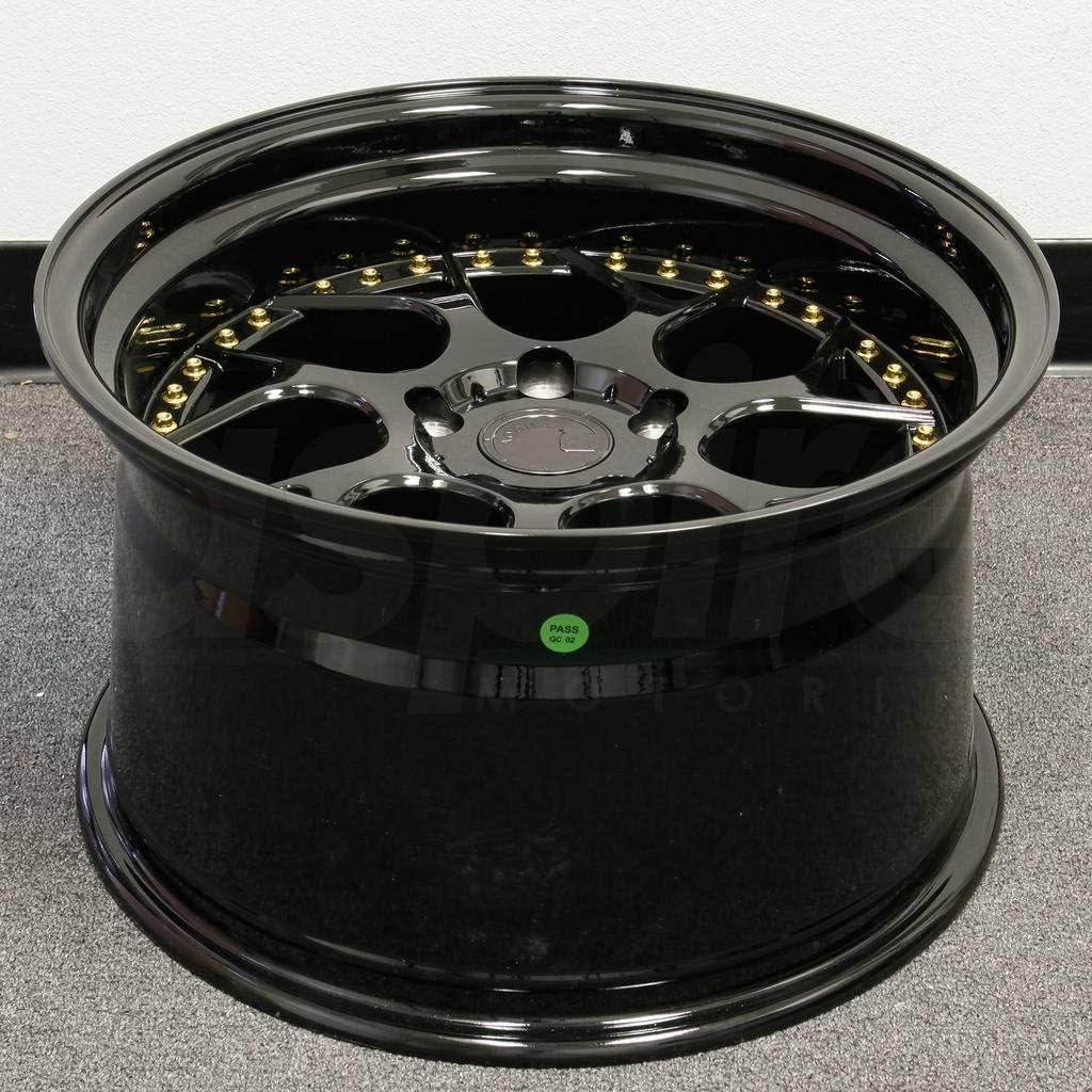 Gloss Black W//Gold Rivets 18x9.5 Wheel Size; 5x100 Lug Pattern; 73.1mm Hug Bore; 35mm Off Set. AodHan DS01 Wheel