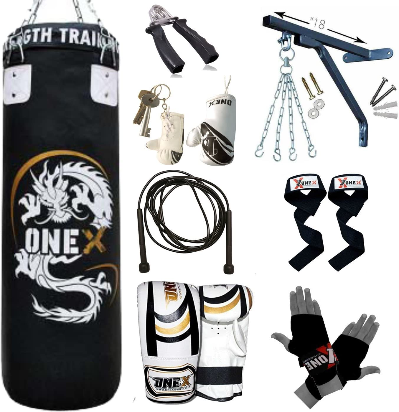 ONEX 3ft Filled Heavy Boxing Punch Bag Kit Gym MMA Set Boxed Pack Kids Xmas Gift