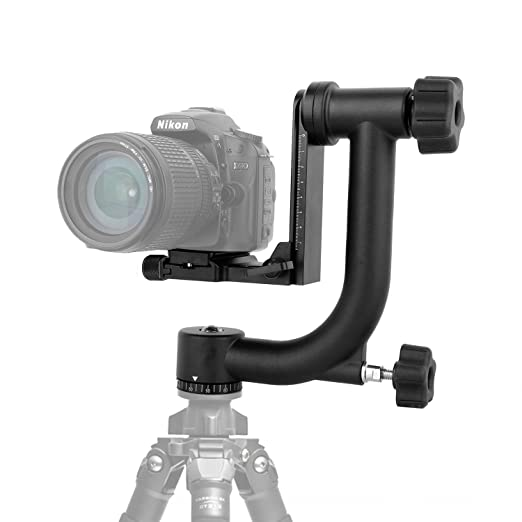 Profesional Gimbal Cabeza de trípode, aleación de Aluminio 360 Degree panorámico Arca-Swiss estándar Placa de liberación rápida para Canon Nikon DSLR Cámara ...