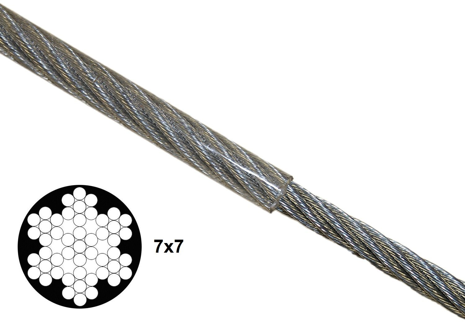 KingChain 463771 1/8'' x 3/16'' x50' Pvc-Coated Galvanized Aircraft Cable Kit by KingChain (Image #2)