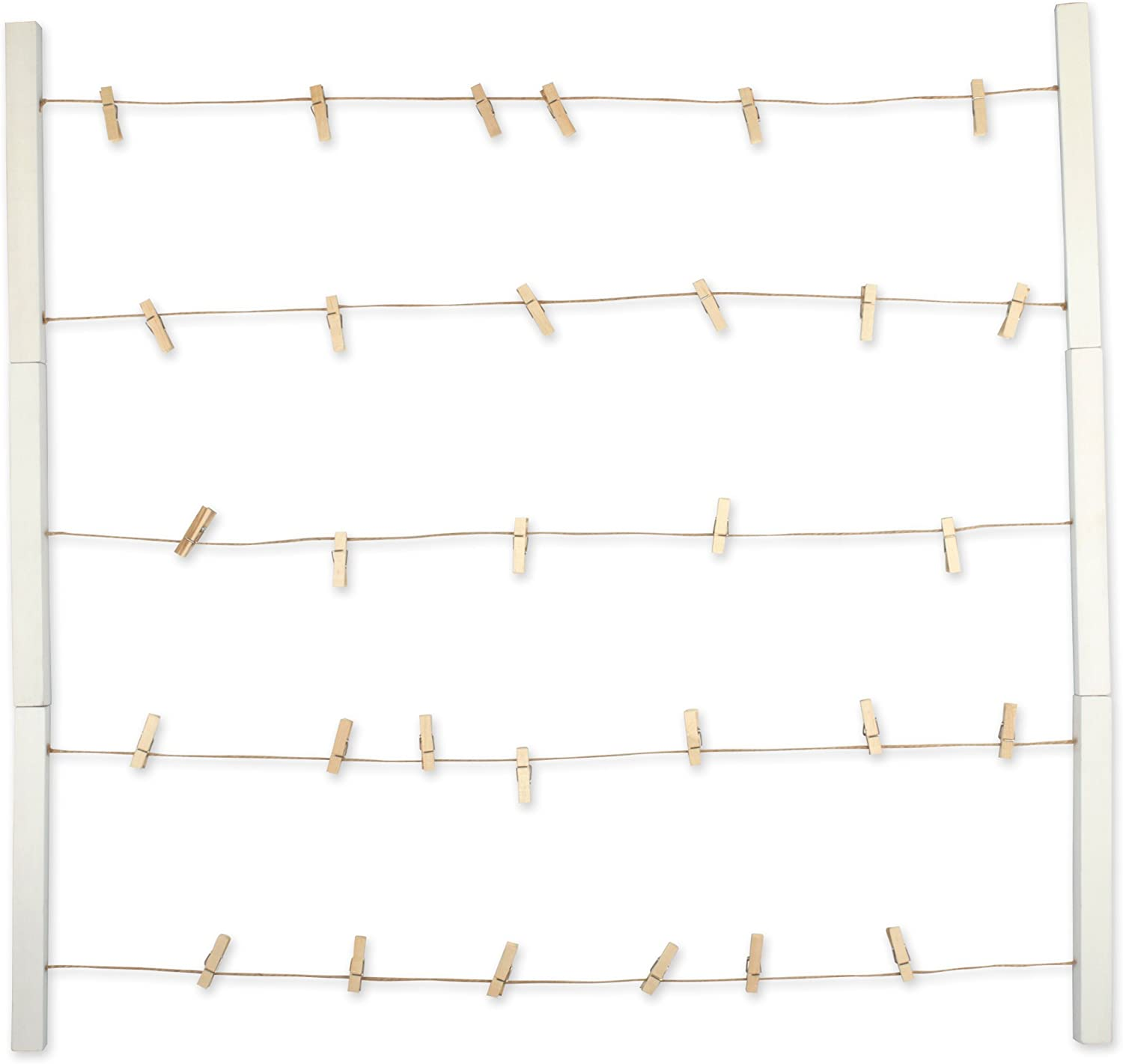 DII Home Traditions Floating Photo Display DIY Photo Collage Set with Twine Clothesline, Natural Wood Wall Mounts, and 30 Wooden Clothespin Clips for Hanging Photos, Prints, and Art - Rustic White