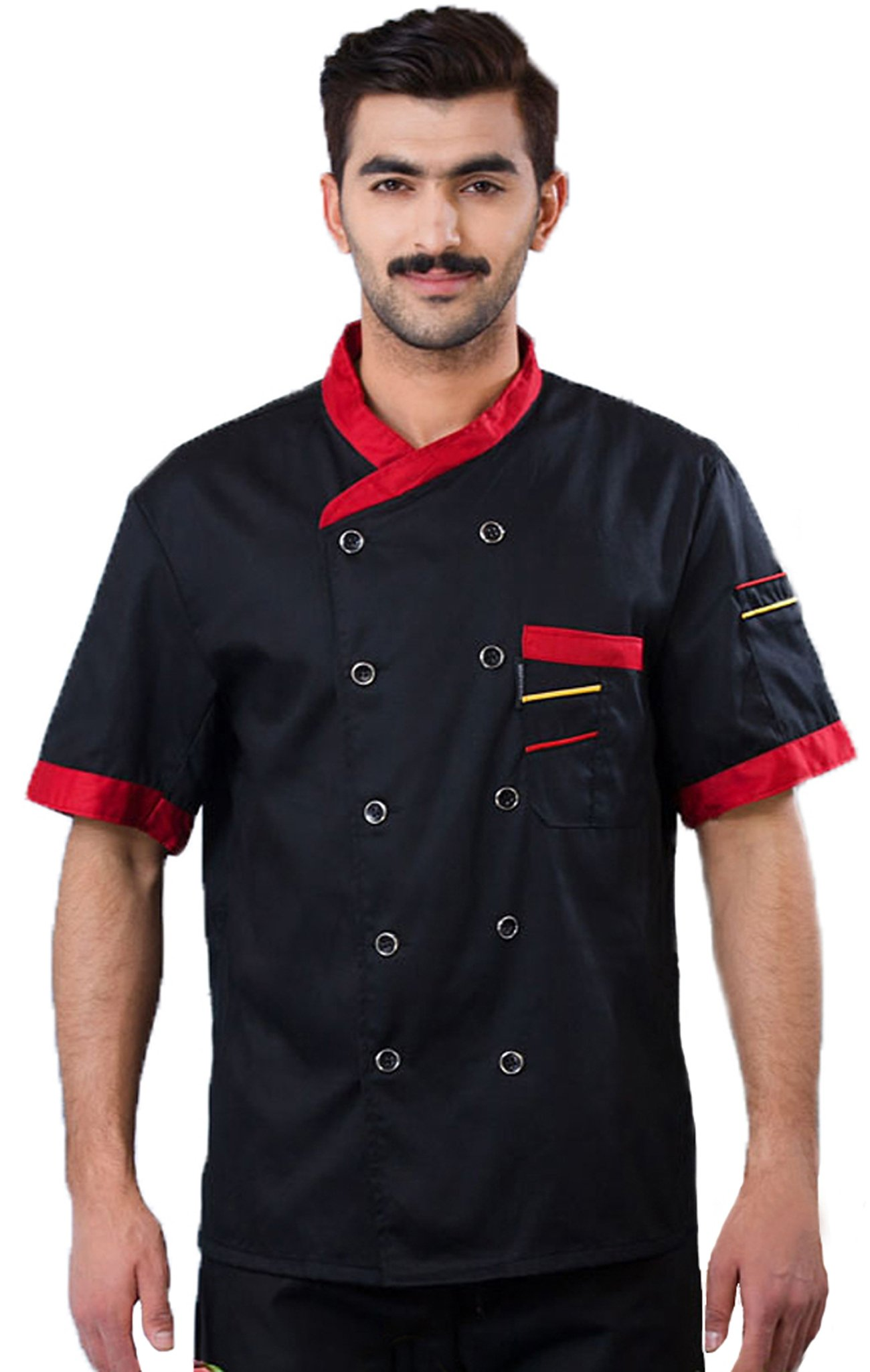 3colors Chef Clothing Hotel Restaurant Chefs Work Clothes Short Sleeve Chef Jack (M, black)