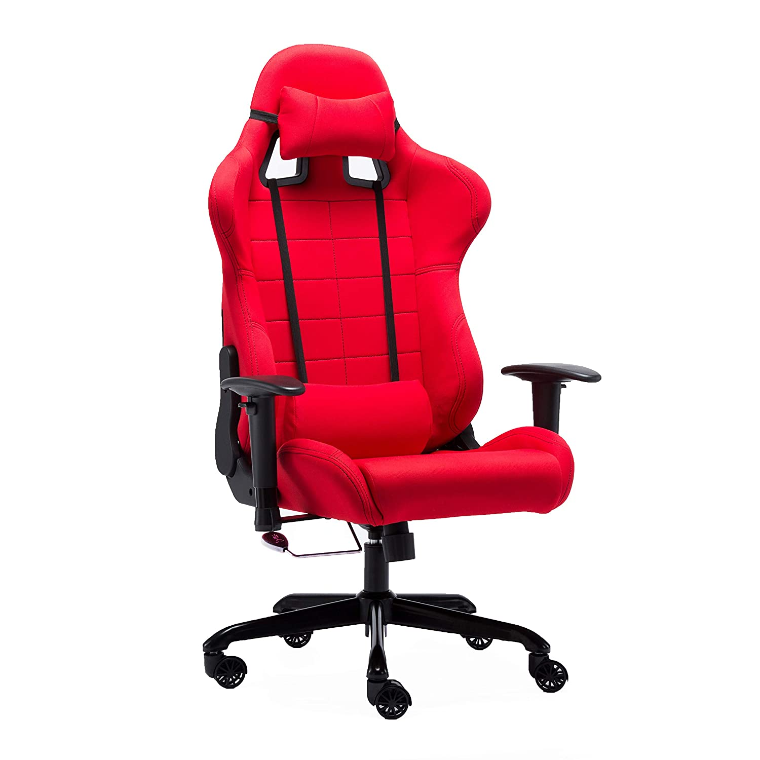 Red Irene House 802 Series PC Rock Gaming Racing Chair with Headrest Lumbar Pillows (Red)