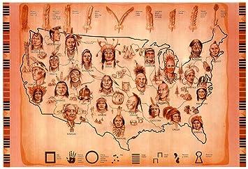 Amazon.com: Laminated Native American Tribes Map Art Print Poster ...