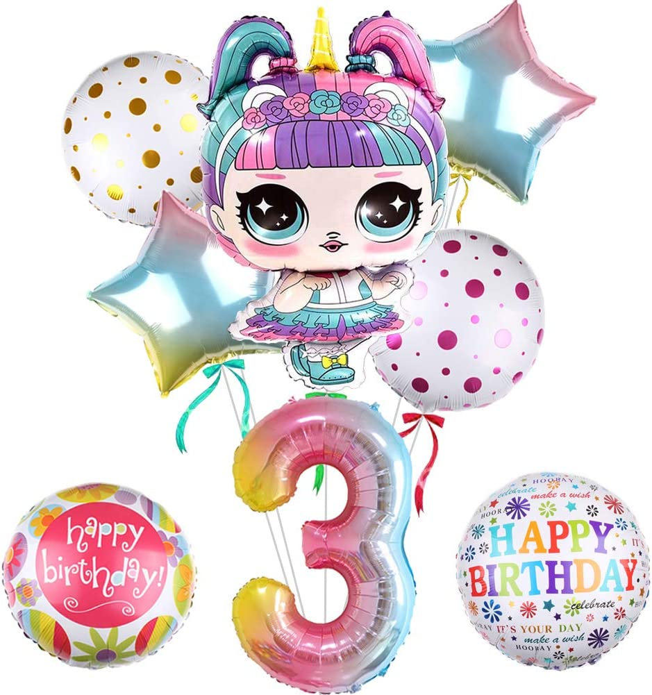 """8pcs LOL Balloons Party Supplies, 32""""Doll Balloons Mylar Balloon for 1st Birthday Balloon Bouquet Decorations, Baby Shower, Home Office Decor, Birthday Backdrop (3rd)"""