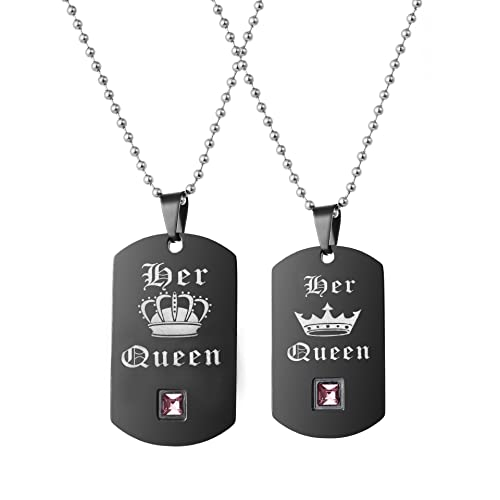 4e585901da Uloveido A Pair of Her Queen Lesbian Pride Necklaces Set for Women with  Pink Cubic Zirconia