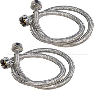 FlexCraft 2578PR-2 Stainless Steel Washing Machine Hose Connector Burst Proof, Hot and Cold Water Supply, Washing Machine Supply Line, 8 FT (2 Pack)