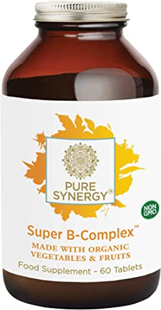 Pure Synergy Super B-Complex | 60 Tablets | Made with Organic Ingredients | Non-GMO | Made with Organic Veggies and Fruits and B Vitamins