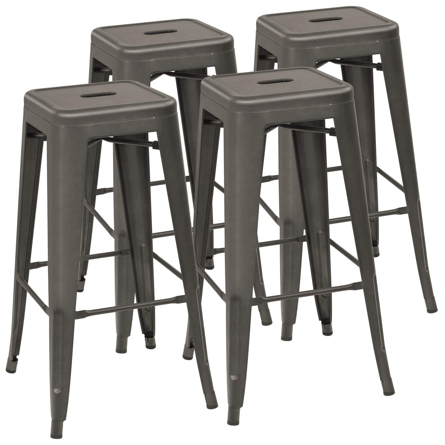 Devoko Metal Bar Stool 30'' Tolix Style Indoor/Outdoor Barstool Modern Industrial Backless Light Weight Bar Stools with Square Seat Set of 4 (Gun) by Devoko