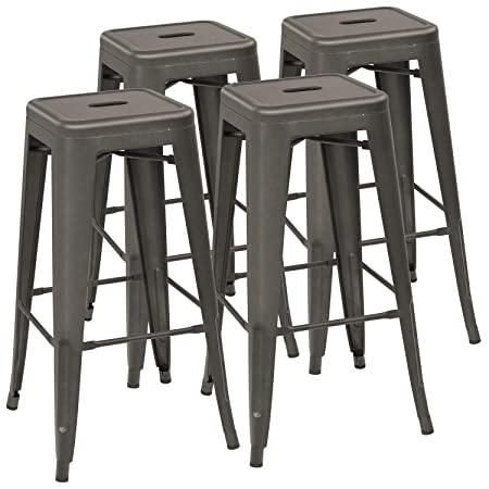 Devoko Metal Bar Stool 30 Tolix Style Indoor Outdoor Barstool Modern Industrial Backless Light Weight Bar Stools with Square Seat Set of 4 Gun