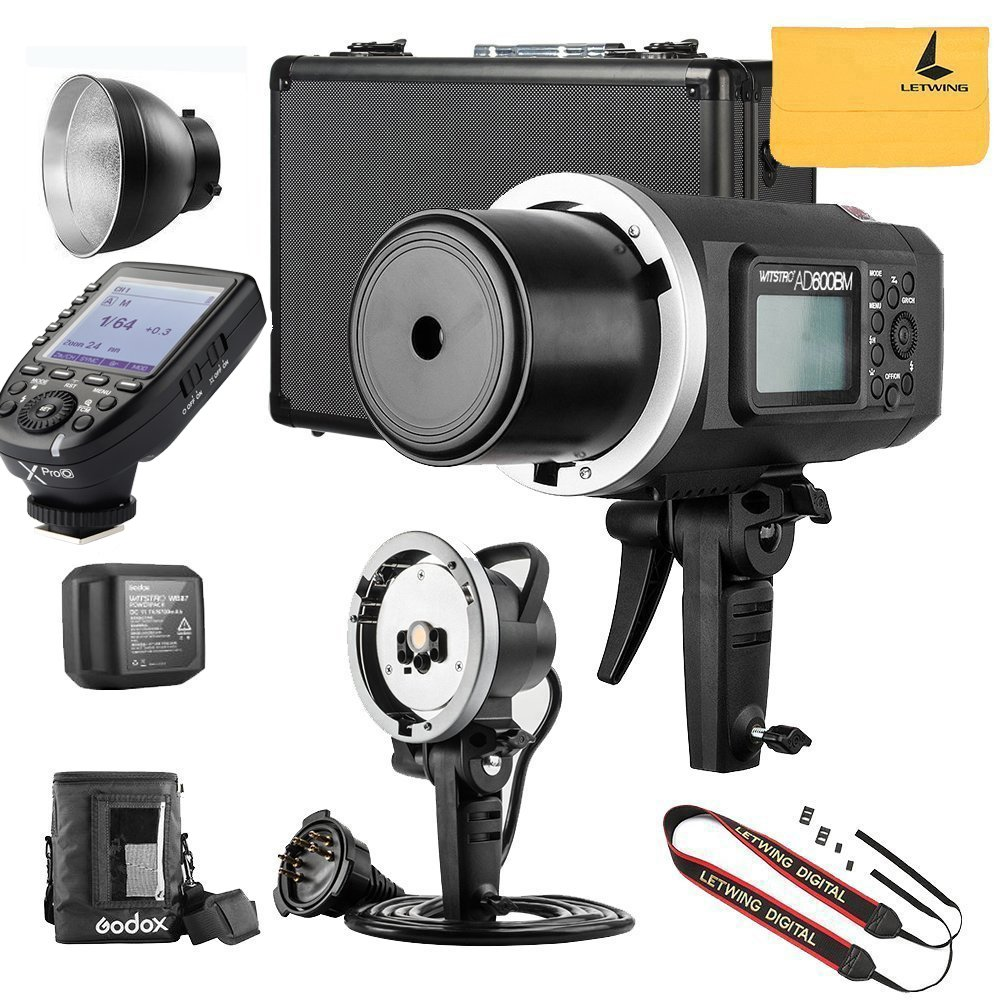 Godox ad600bm Ad同期1 / 8000s 2.4 Gワイヤレスフラッシュライトスピードライト、Godox xpro-o for Olympusカメラ、ad-h600bヘッド、pb-600バッグ、cb-09スーツケースキャリーバッグ、Letwingカメラネックストラップ   B07BFV9W1V