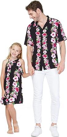 Hawaii Hangover Vestido a Juego para Padre e Hija Hawaiano Luau Cruise Outfit Camisa Vestido Rosa Hibiscus Vine