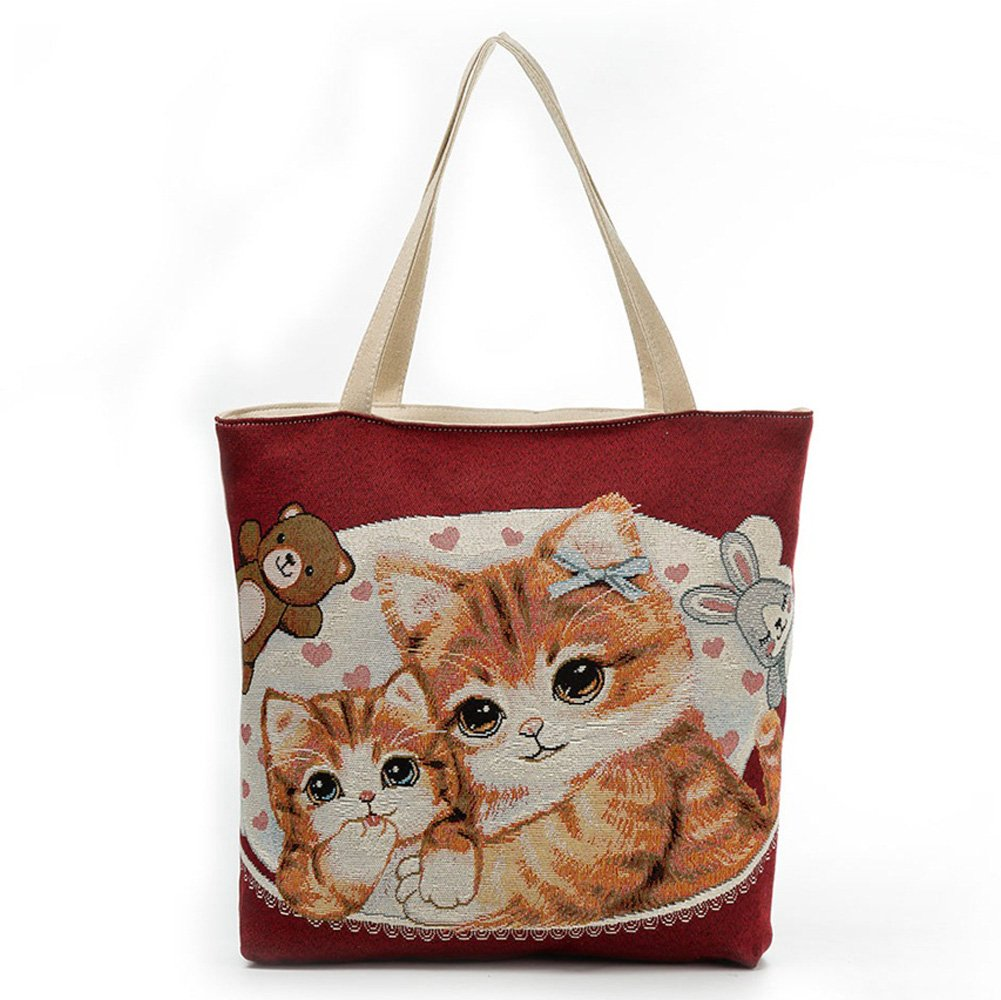 Canvas Tote Bag, Jian Ya Na Cute Cat Girls Zippered Light Shoulder Shopping Beach Bag Jacquard Casual Travel Handbag Satchel (Brown)