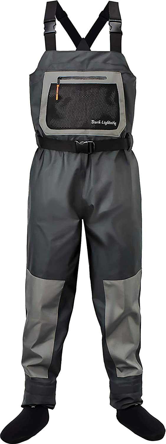 Dark Lightning Breathable Insulated Chest Waders, Perfect for 4 Seasons Fly Fishing Stockingfoot Waders for Men and Women