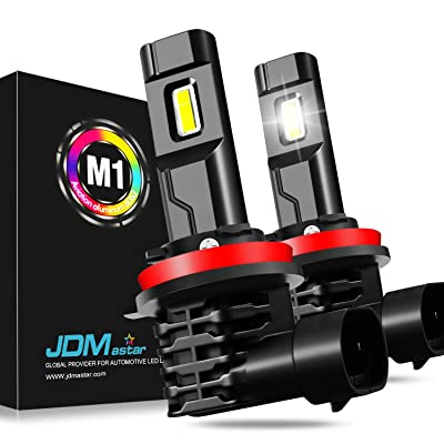 JDM ASTAR M1 Fanless and 1:1 Design H11 H8 H16 Bright White Output Up to 30% More Downroad Visibility LED Headlight Bulbs/Fog Light Bulbs: Automotive