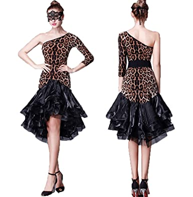e0db29b0b YC WELL Latin Dance Dress Women Single sleeve Salsa Rumba Cha Cha Samba  Tango Dance Performance