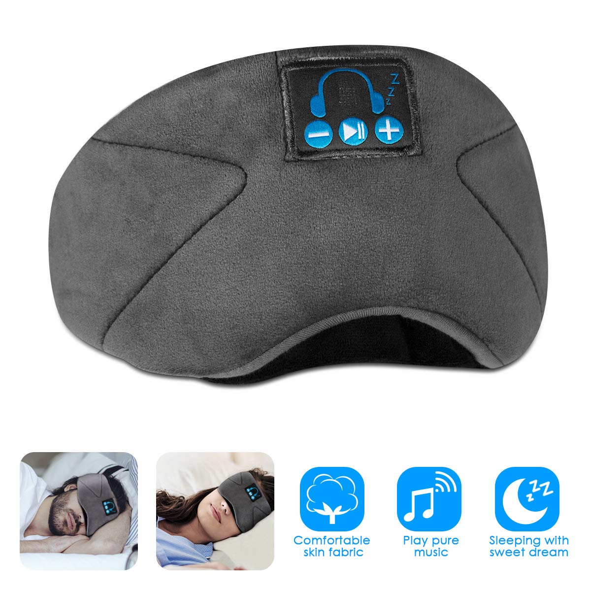 SOONHUA Bluetooth Eye Mask for Sleeping, Wireless Sleep Headphones Headband Bluetooth 5.0, for Running with Built-in Microphone Ultra-Thin Speakers,for Side Sleepers (Gray)