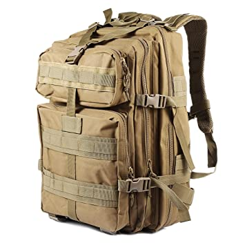 ECHI 3P mochila táctica, militar repelente de agua senderismo mochilas de camping para el senderismo al aire libre trekking camping caza (45L-Beige): ...