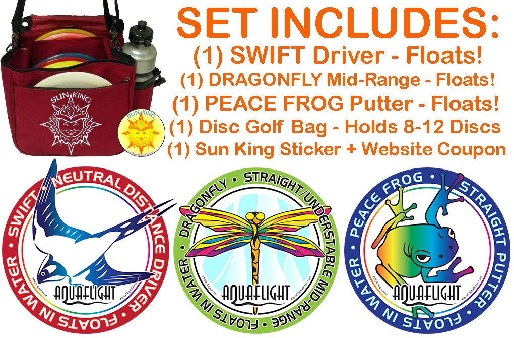 AquaFlight Deluxe Disc Golf Starter Set (3 Discs + Bag - Floats in Water!) by Sun King Disc Sports