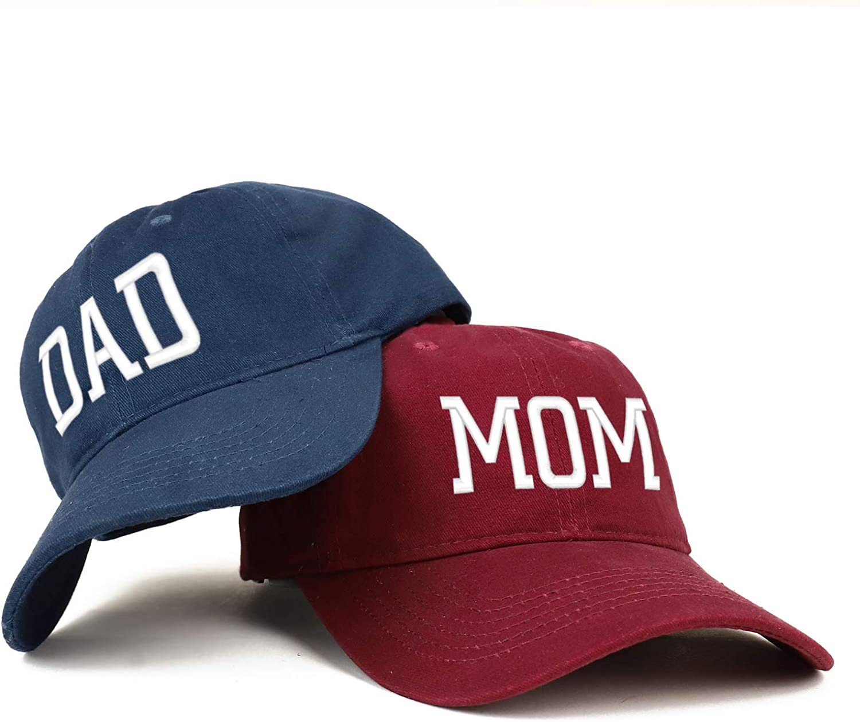 Trendy Apparel Shop Capital Mom and Dad Soft Cotton Couple 2 Pc Cap Set