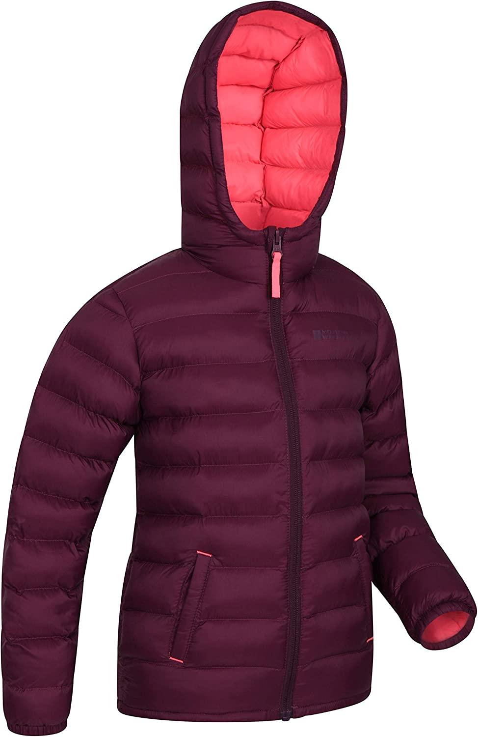 for Travelling Durable Casual Jacket Pockets Hoodie Water Resistant Rain Coat Fleece Lining Childrens Coat Mountain Warehouse Turbine Kids Padded Winter Jacket