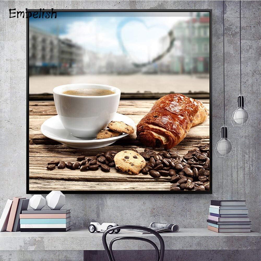 tzxdbh Insertar 1 Póster De Pared Grande para Decoración del Hogar, Cocina, Cereal, Café Y Pan, Sala De Estar, Pintura De Lienzo Hd50X70