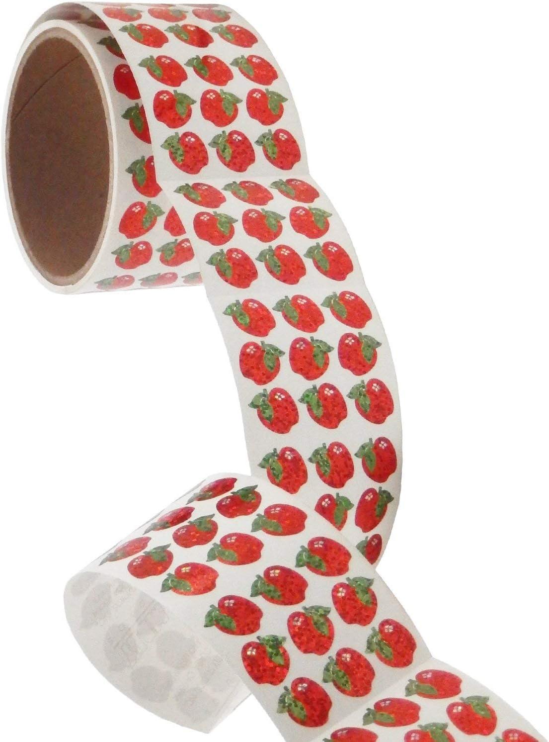 Bulk Roll Prismatic Stickers, Micro Apples (100 Repeats)