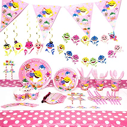 Amazon.com Baby Cute Shark Pink Theme Party Supplies Set