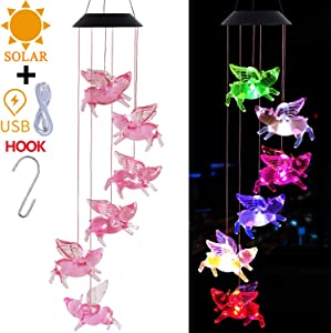 Solar Fly Pigs LED Wind Chimes Outdoor With Hook - Solar Powered and USB Charging, Waterproof Changing Light Color Mobile Flying Pigs Windchime Gifts For Mom, Home Decor, Garden Decoration(Blackboard)