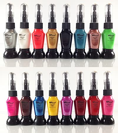 Amazon Com 16 Bright Color 2 In 1 Nail Art Pens Nail Polish Beauty