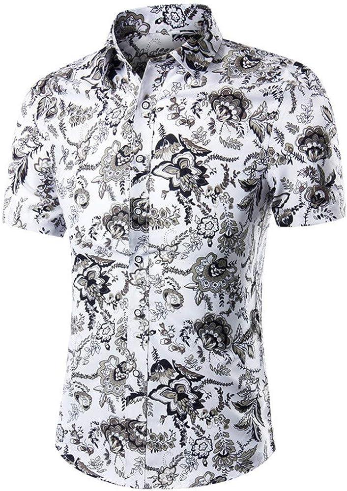 Rabbiter Camisas Estampadas de Lino para Hombres Conjunto de Manga Corta Vestido básico Top Blusa Informal Camisas de Playa de Verano Camiseta (Blanco, S): Amazon.es: Ropa y accesorios