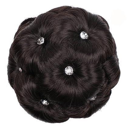 OHQ Peluca Mujeres anillo de peluca femenina rizado novia maquillaje diamanta bollo flores moño postizo Postizos
