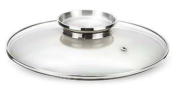 Pensofal, Tapa de vidrio con pomo dosaroma de acero inox, diámetro 24 cm