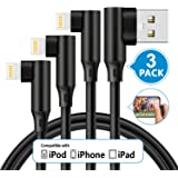 Alworld Phone Charger 3 Pack 3 FT Charging Cable Cord Wire 90 Degree iPhone Cable Easy Durable to Plug Compatible iPhone XS MAX XR X 8 Plus 7 Plus 6s 6 Plus iPad (Black)