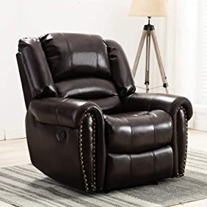 CANMOV Recliner Chair Classic and Traditional Manual Recliner Chair with Arms and Back Single Sofa for Living Room, Dark Brown