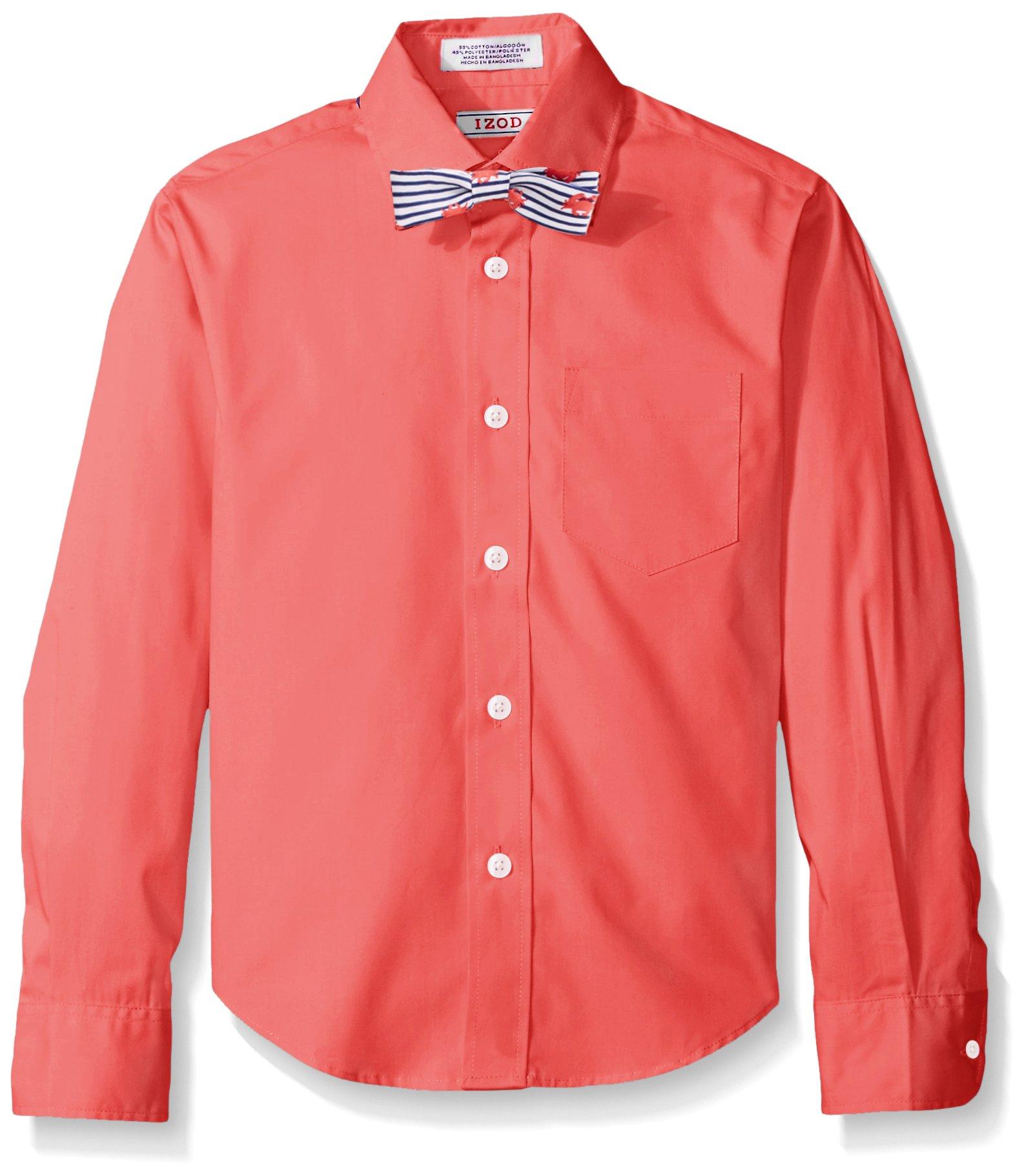 IZOD Kids Big Boys' L/s Solid Shirt and Bowtie Set, Claret Red, 08 Regular