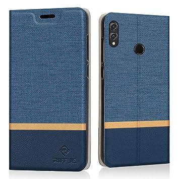 RIFFUE Funda Honor 8X, Carcasa Delgada Libro de Cuero con Tapa Cartera de Ranura y Billetera Elegante Case Cover para Huawei Honor 8X - Azul