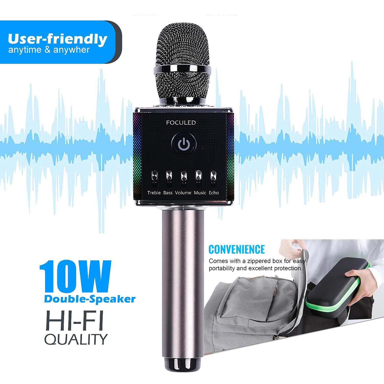 Portable Wireless Bluetooth Karaoke Microphone with LED lights, Built-in HIFI Dual-Speaker 10W and 2600mAH battery capacity, Handheld karaoke Mic Speaker Machine for Home KTV Birthday Party by FOCULED (Image #2)