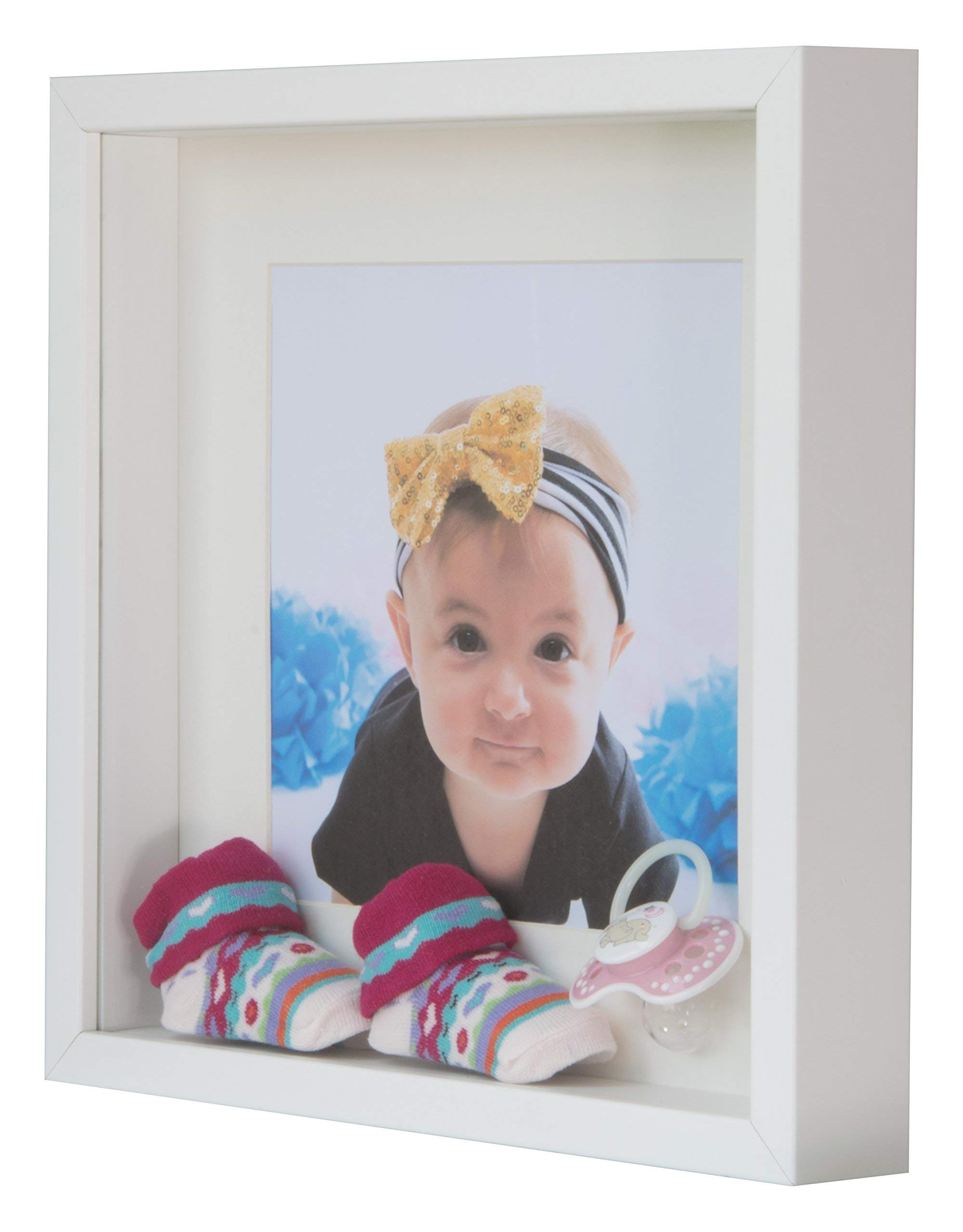 BD ART 11x11 (28 x 28 x 4.7 cm) White Shadow Box 3D Square Picture Frame with Mat for 8x8 inch Photo, Glass Front by BD ART