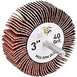 TOVOT 10 PCS 3  x 1  x 1//4  Mounted Flap Wheels with 1//4  Mandrel 80 Grit Aluminum Oxide Coated Flap Aluminum Oxide Coated Flaps /Φ80*6