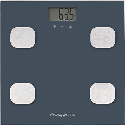 Rowenta Body up BR2520 Báscula de baño con medidor de grasa corporal e IMC, hasta 8 perfiles de usuario, con una gran pantalla LCD, plataforma de vidrio, hasta 150 kg de capacidad, Azul