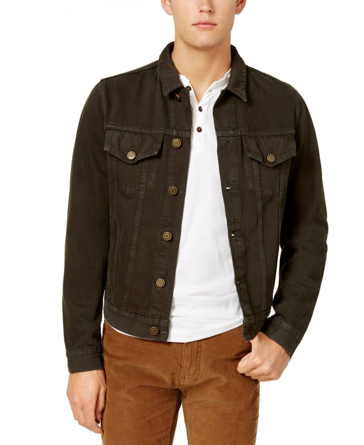 Tommy Hilfiger Men's Garment Dyed Denim Jacket (XL, Dark Brown)