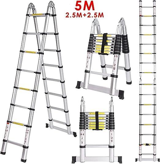 Meditool 5M Escalera Plegable Aluminio,2,5M+2,5M Escalera ...