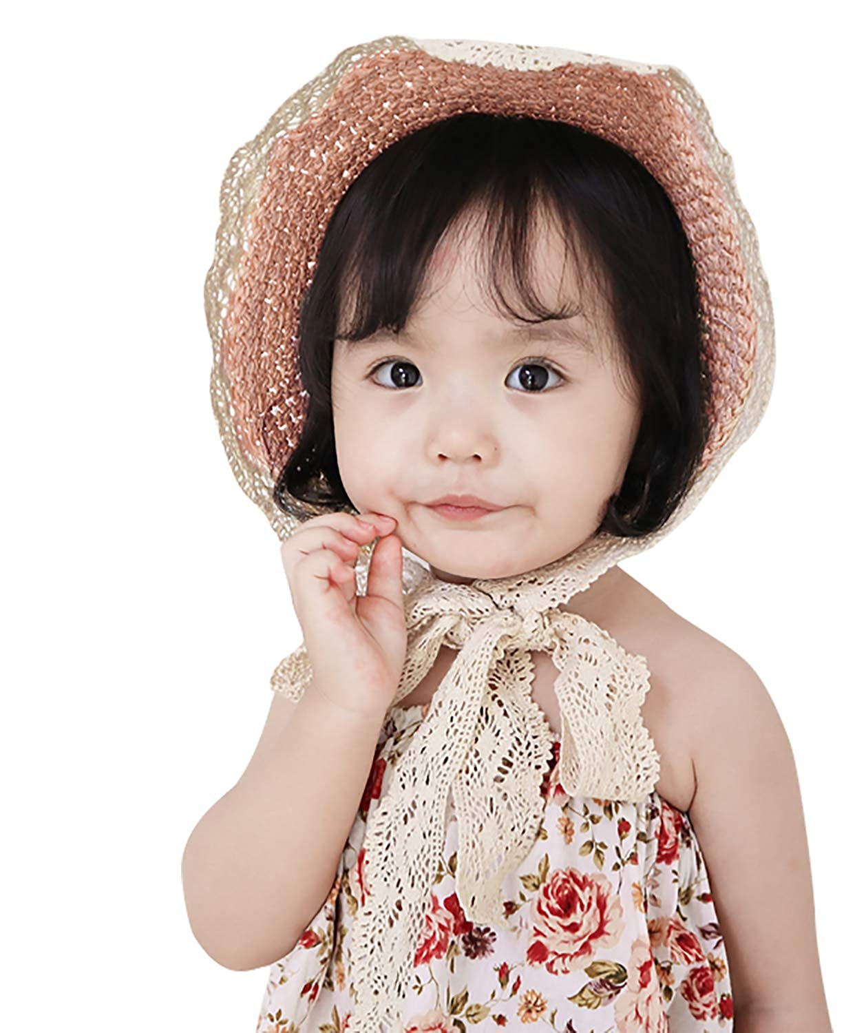 Little Girl Kids Summer Wide Brim Floppy Beach Sun Visor Hat with Lace Bowknot