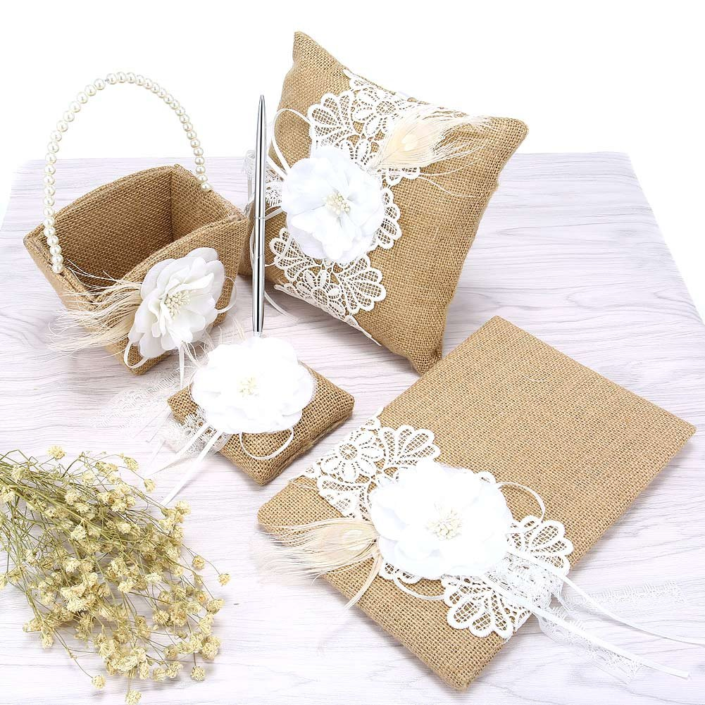 Penna Penna Supporto Flower Basket Set Decorazione Forniture Ring Pillow Alextry 5/pz//Set Burlap Wedding Guest Book
