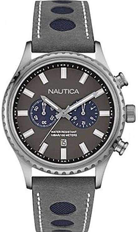 Amazon.com: Nautica nms-02 Mens Analog Quartz Watch with Leather Bracelet NAI18511G: Watches