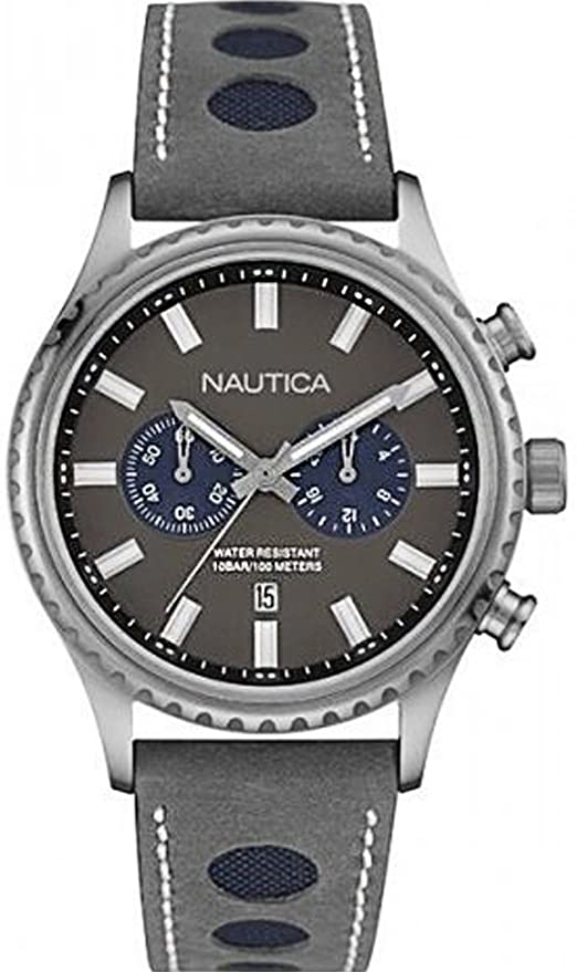 Amazon.com: Nautica nms-02 Mens Analog Quartz Watch with Leather Bracelet NAI18511G: Watches