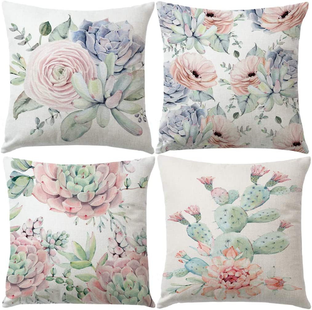 "7ColorRoom Cactus Succulent Plants Pillow Covers Watercolor Flower with Leaves Cushion Cover Cotton Linen Home Decorative Pillow Case for Sofa Bed Decor 18"" x 18"" Set of 4 (Succulent Plants)"