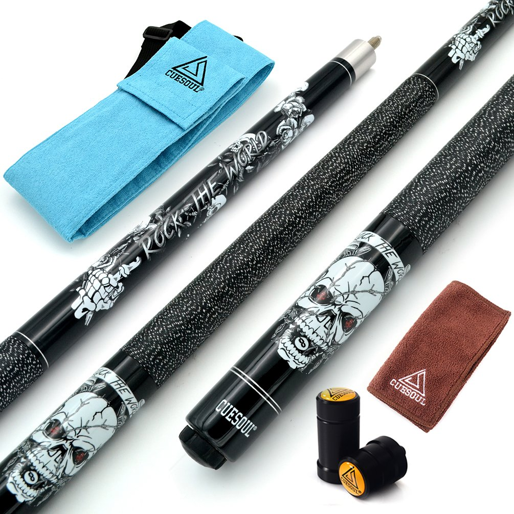 CUESOUL 57 inch 20oz 1/2 Maple Pool Cue Stick Kit- Rock The World Stylish Pattern Cue Design in Black Paint