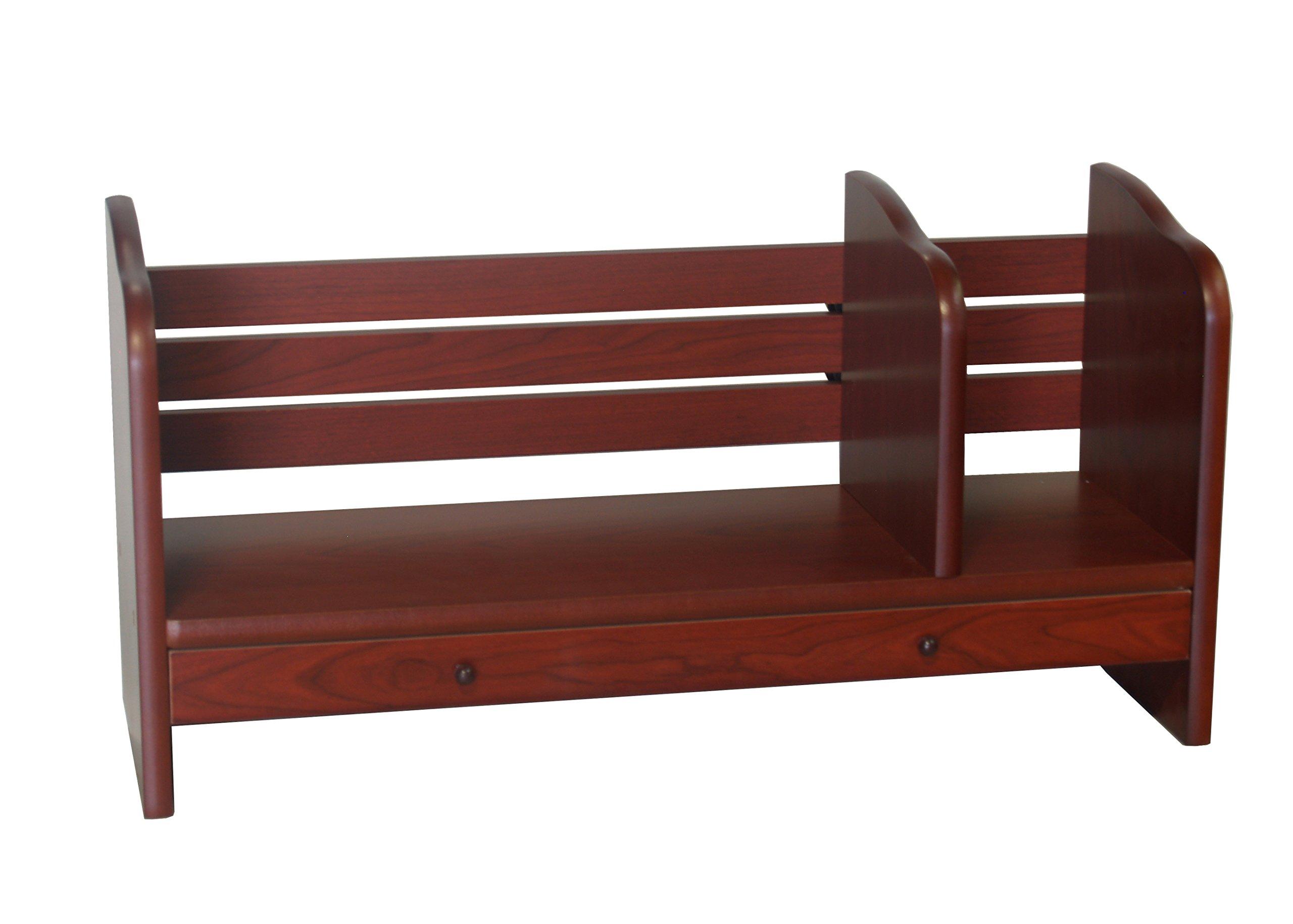 Proman Products Renaissance Desktop Red Walnut Wood Book Rack Adjustable with Drawer, 24'' W x 8'' D x 12'' H, Reddish